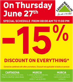 Leroy Merlin 15% discount thursday 27th June2019
